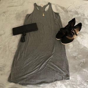 Gap Women's Tall SZ M Grey Racerback Knit Dress